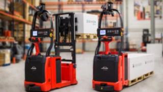 Carretillas elevadoras autónomas de Linde Material Handling con tecnología de control láser.